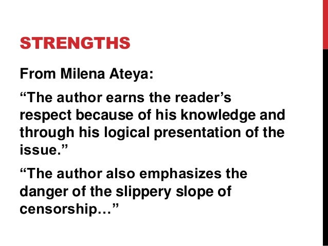 """STRENGTHS From Milena Ateya: """"The author earns the reader's respect because of his knowledge and through his logical prese..."""