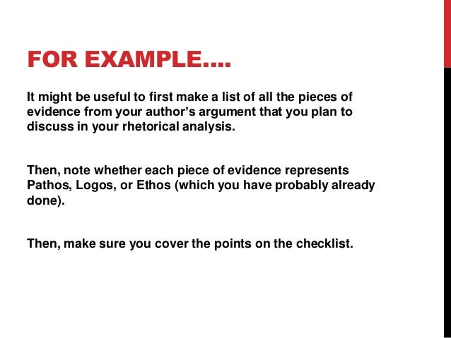 FOR EXAMPLE…. It might be useful to first make a list of all the pieces of evidence from your author's argument that you p...