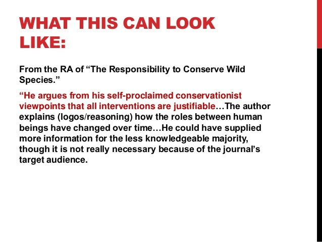 """WHAT THIS CAN LOOK LIKE: From the RA of """"The Responsibility to Conserve Wild Species."""" """"He argues from his self-proclaimed..."""