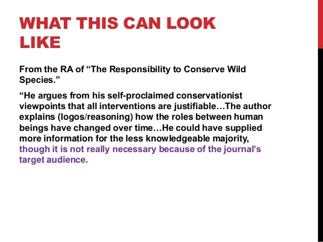 """WHAT THIS CAN LOOK LIKE From the RA of """"The Responsibility to Conserve Wild Species."""" """"He argues from his self-proclaimed ..."""