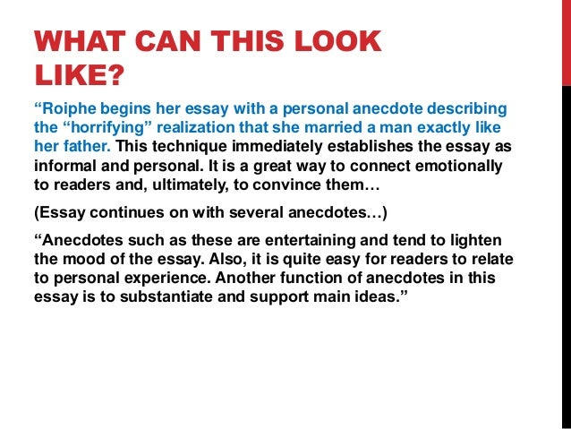 starting essays with an anecdote Essays writing advice writing can we start an essay with an anecdote update cancel ad by amazon starting an essay with an anecdote: (video.
