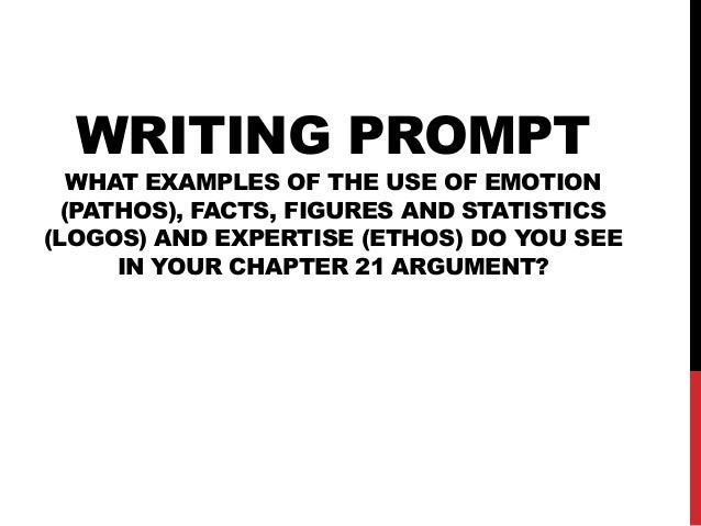 WRITING PROMPT  WHAT EXAMPLES OF THE USE OF EMOTION (PATHOS), FACTS, FIGURES AND STATISTICS (LOGOS) AND EXPERTISE (ETHOS) ...