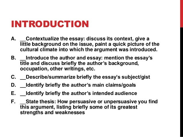 INTRODUCTION A. __Contextualize the essay: discuss its context, give a little background on the issue, paint a quick pictu...