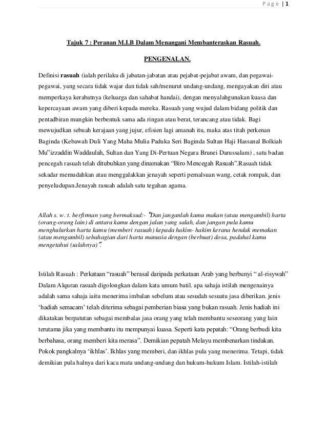 Page |1          Tajuk 7 : Peranan M.I.B Dalam Menangani Membanteraskan Rasuah.                                        PEN...