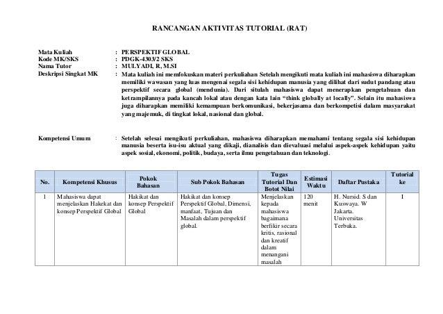 RANCANGAN AKTIVITAS TUTORIAL (RAT)Mata Kuliah : PERSPEKTIF GLOBALKode MK/SKS : PDGK-4303/2 SKSNama Tutor : MULYADI, R, M.S...