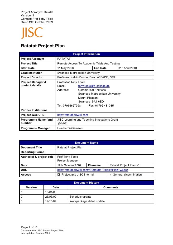 Project Acronym: Ratatat Version: 3 Contact: Prof Tony Toole Date: 19th October 2009     Ratatat Project Plan             ...