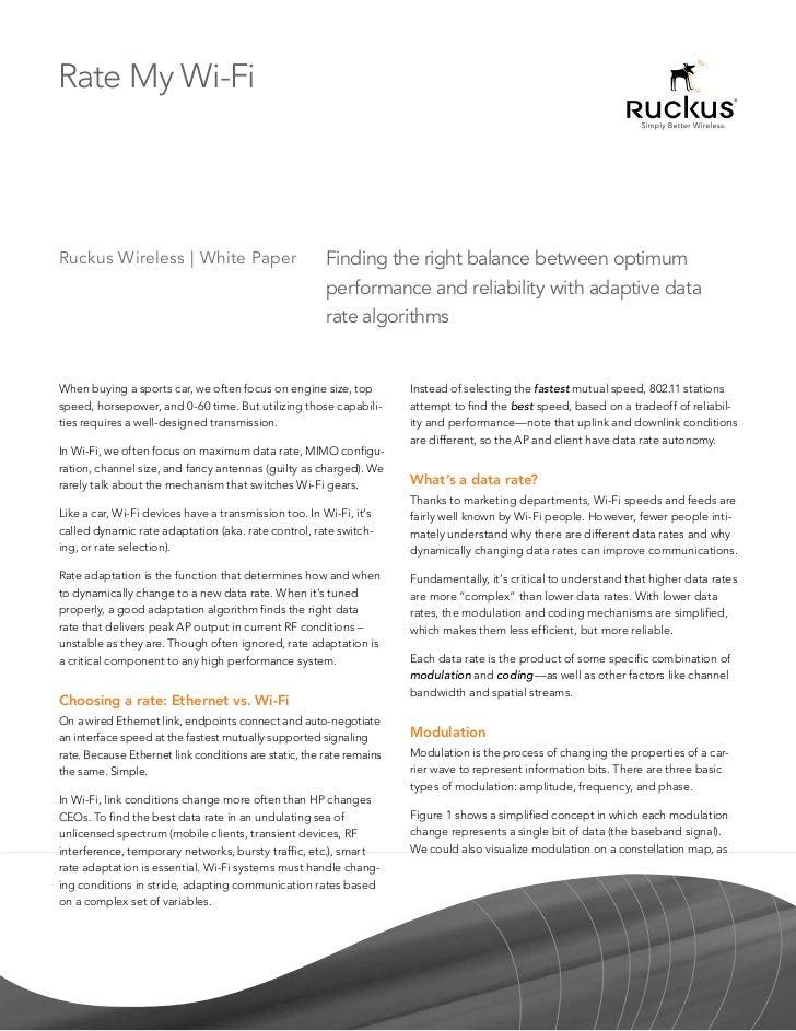 Rate My Wi-FiRuckus Wireless | White Paper                          Finding the right balance between optimum             ...