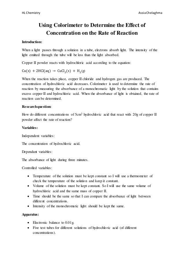 IB Chemistry HL IA Rate of reaction, Chemistry lab