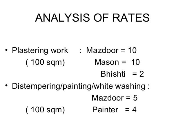 Rates Analysis For Calculating Material and Labour for