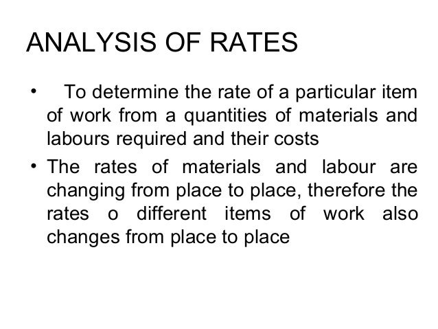 Rates Analysis For Calculating Material and Labour for building works   Slide 2