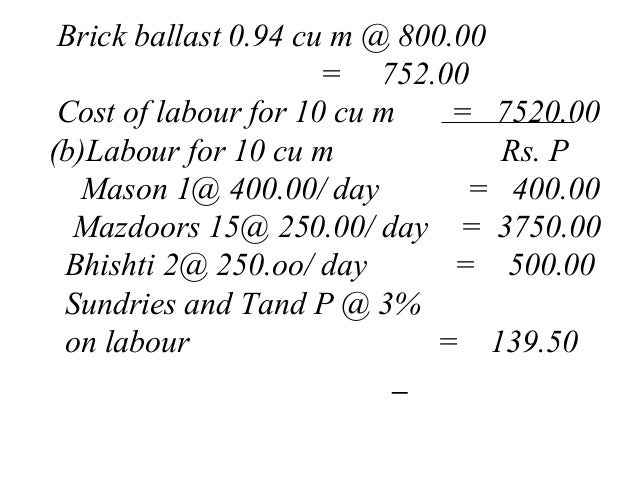 Rates Analysis For Calculating Material and Labour for building works…
