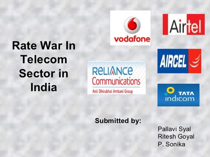 Rate War In Telecom Sector in India Submitted by: Pallavi Syal Ritesh Goyal P. Sonika