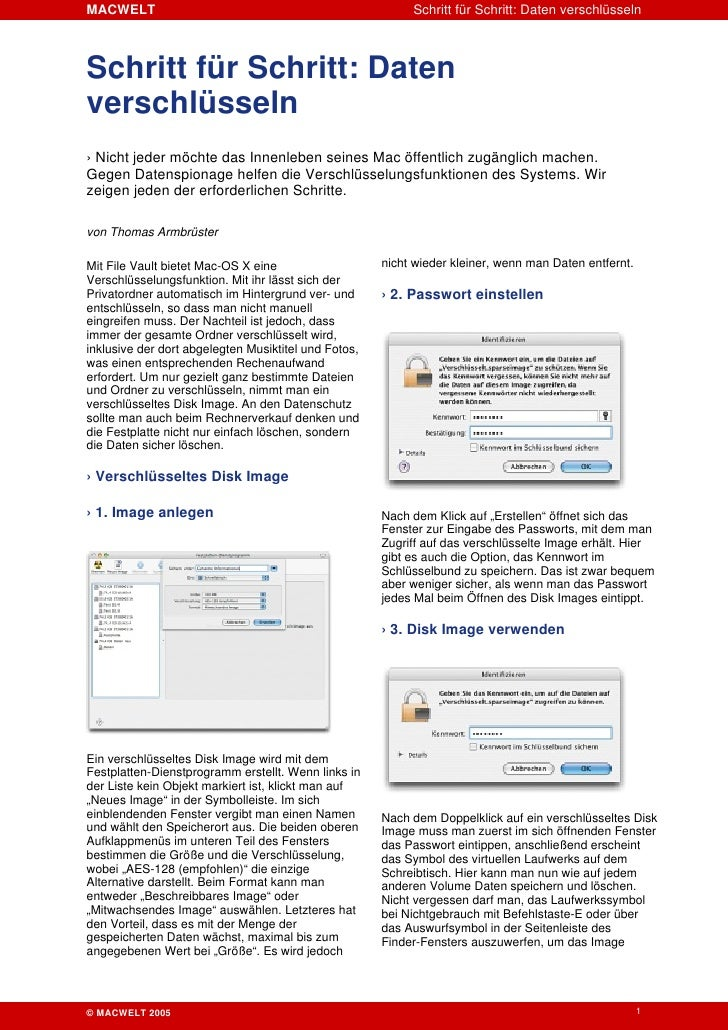 MACWELT                                                    Schritt für Schritt: Daten verschlüsseln    Schritt für Schritt...