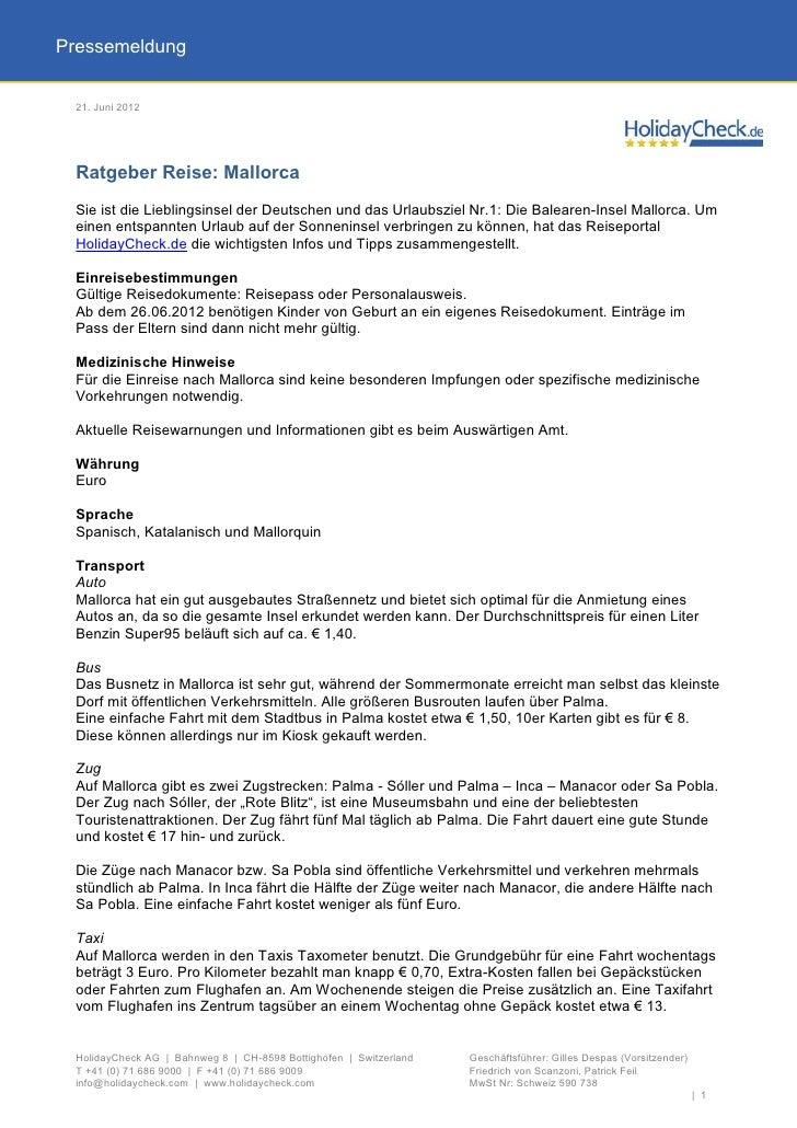 Pressemeldung 21. Juni 2012 Ratgeber Reise: Mallorca Sie ist die Lieblingsinsel der Deutschen und das Urlaubsziel Nr.1: Di...