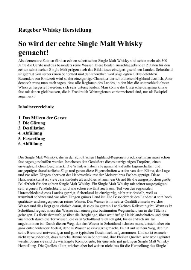 Ratgeber Whisky Herstellung So wird der echte Single Malt Whisky gemacht! Als elementare Zutaten für den echten schottisch...