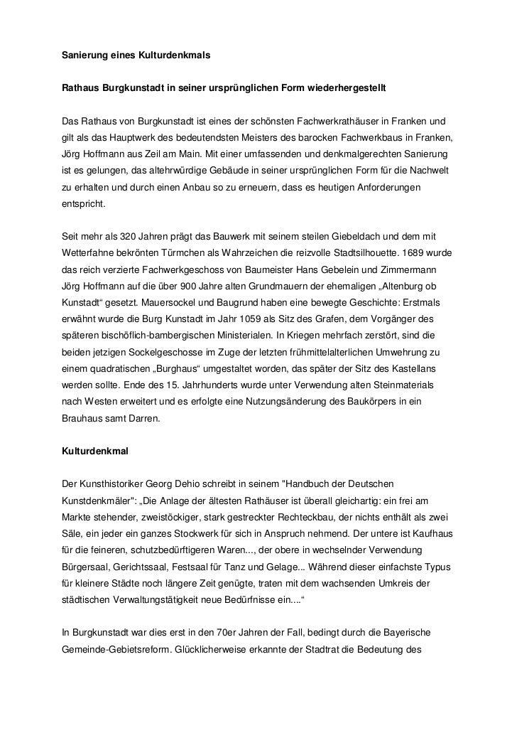 Sanierung eines KulturdenkmalsRathaus Burgkunstadt in seiner ursprünglichen Form wiederhergestelltDas Rathaus von Burgkuns...