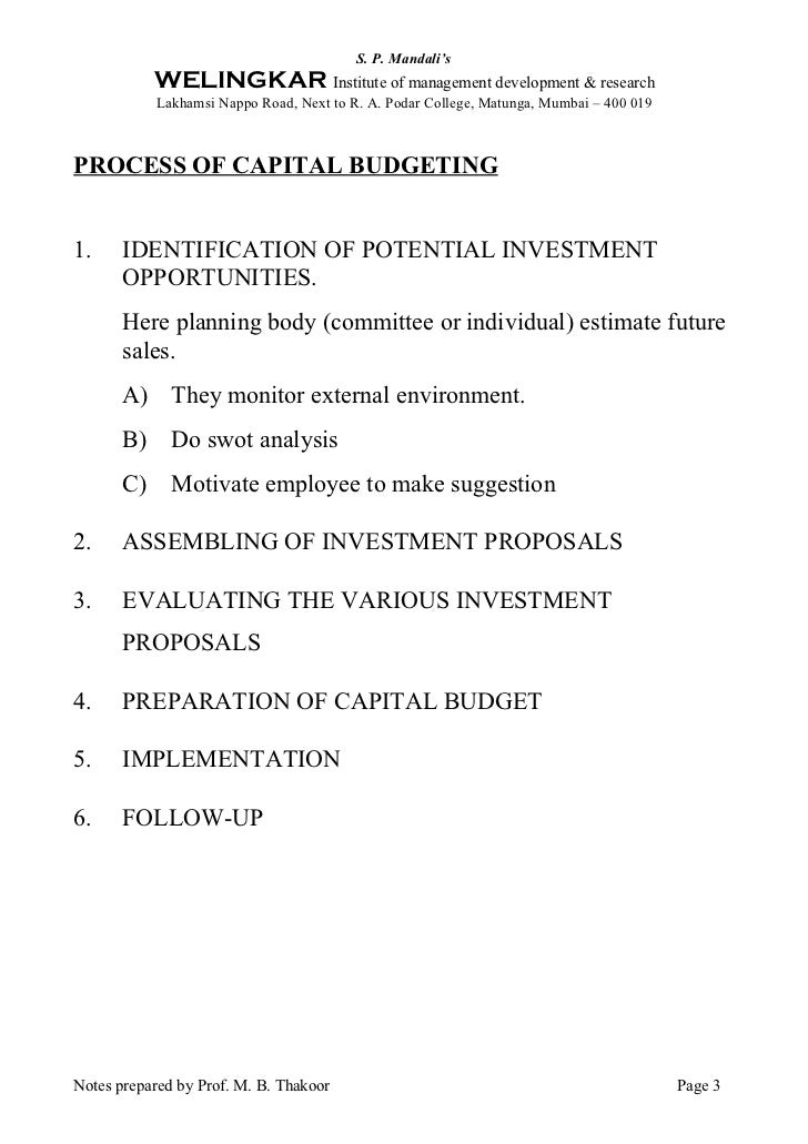 capital budgeting research proposals Benchmarking hotel capital budgeting practices to practices applied in non-hotel companies abstract a survey was conducted to compare hotel capital budgeting practices employed within.