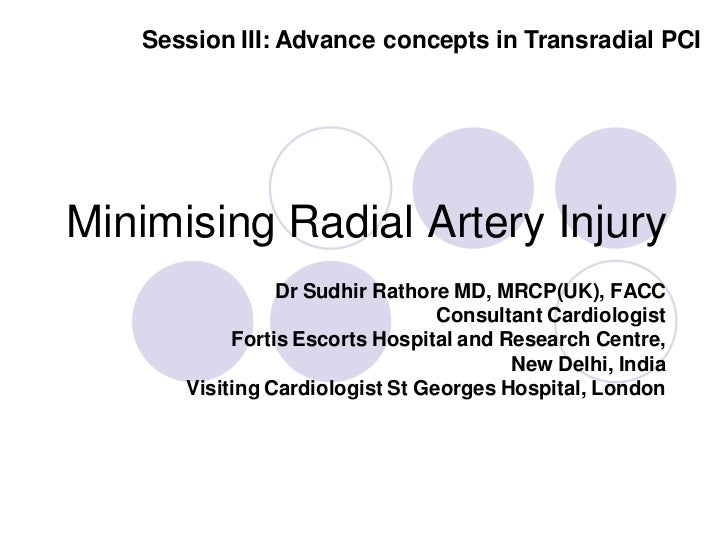 Session III: Advance concepts in Transradial PCIMinimising Radial Artery Injury                Dr Sudhir Rathore MD, MRCP(...