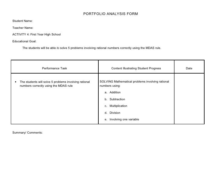 PORTFOLIO ANALYSIS FORM Student Name:  Teacher Name:  ACTIVITY 4: First Year High School  Educational Goal:         The st...