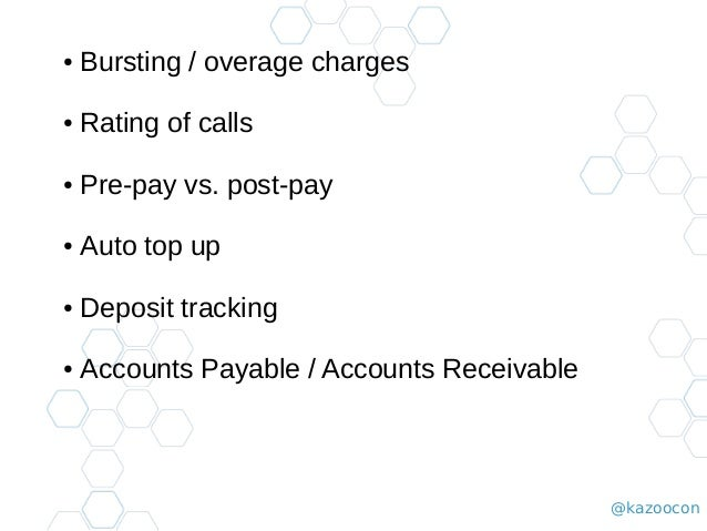 @kazoocon ● Bursting / overage charges ● Rating of calls ● Pre-pay vs. post-pay ● Auto top up ● Deposit tracking ● Account...