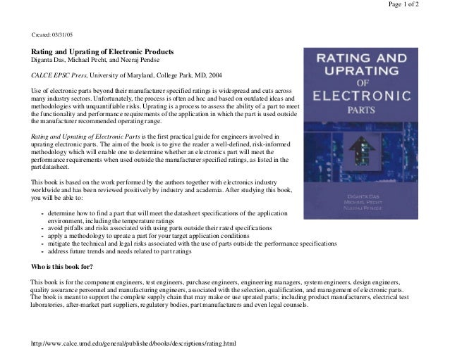 Page 1 of 2  Created: 03/31/05  Rating and Uprating of Electronic Products Diganta Das, Michael Pecht, and Neeraj Pendse C...