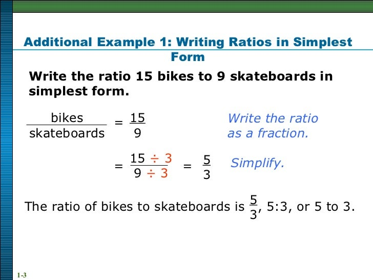 simplest form 3/9  Ratio