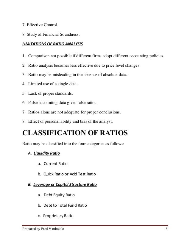 Types of Ratio analyis and their significance