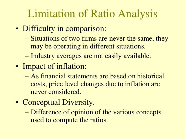 limitation of ratio analysis There are two limitations of of financial statement analysis involve the comparability of financial data between companies and the need to look beyond ratios.