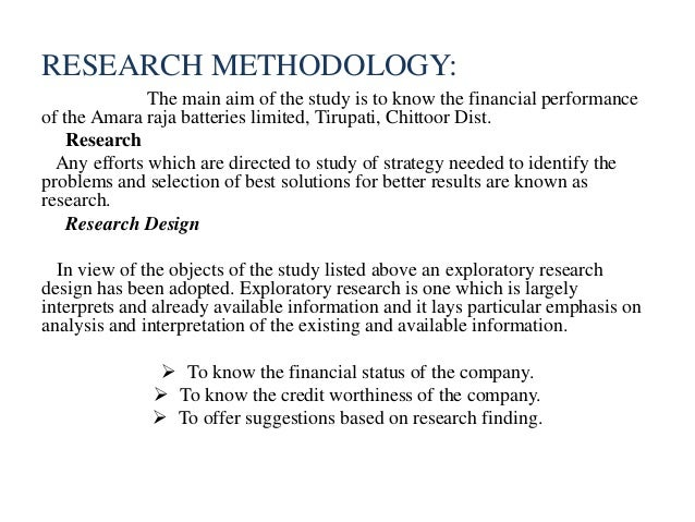 project report on financial performance analysis with research methodology