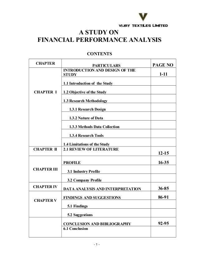 A STUDY ON FINANCIAL PERFORMANCE ANALYSIS CONTENTS CHAPTER  PARTICULARS INTRODUCTION AND DESIGN OF THE STUDY  PAGE NO 1-11...