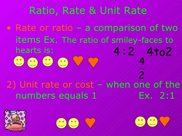 Ratio, Rate & Unit Rate <ul><li>Rate or ratio  – a comparison of two items Ex.   The ratio of smiley-faces to hearts is: <...
