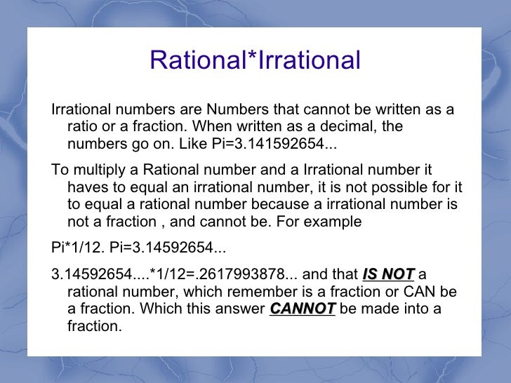 Rational and irrational numbers by Kashae Alexander
