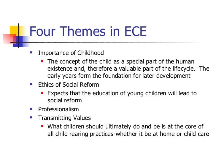 values of early childhood education 2 essay Read chapter 6 assessment in early childhood education: clearly babies come into the world remarkably receptive to its wonders their alertness to sigh.