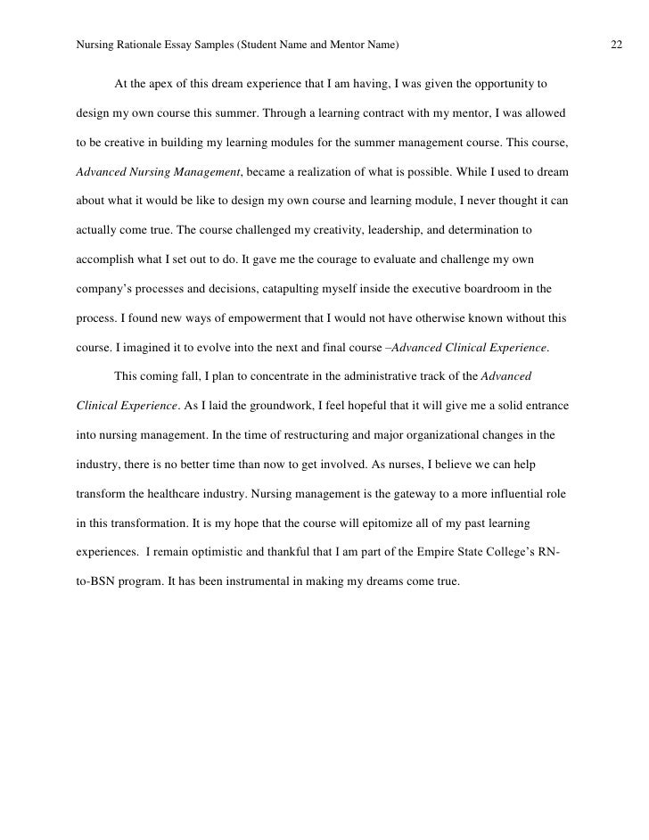 student nurse management essay