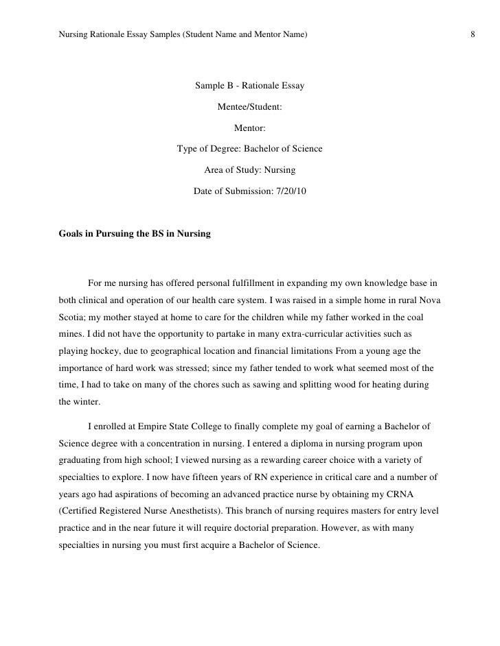 Essay for nursing school examples.