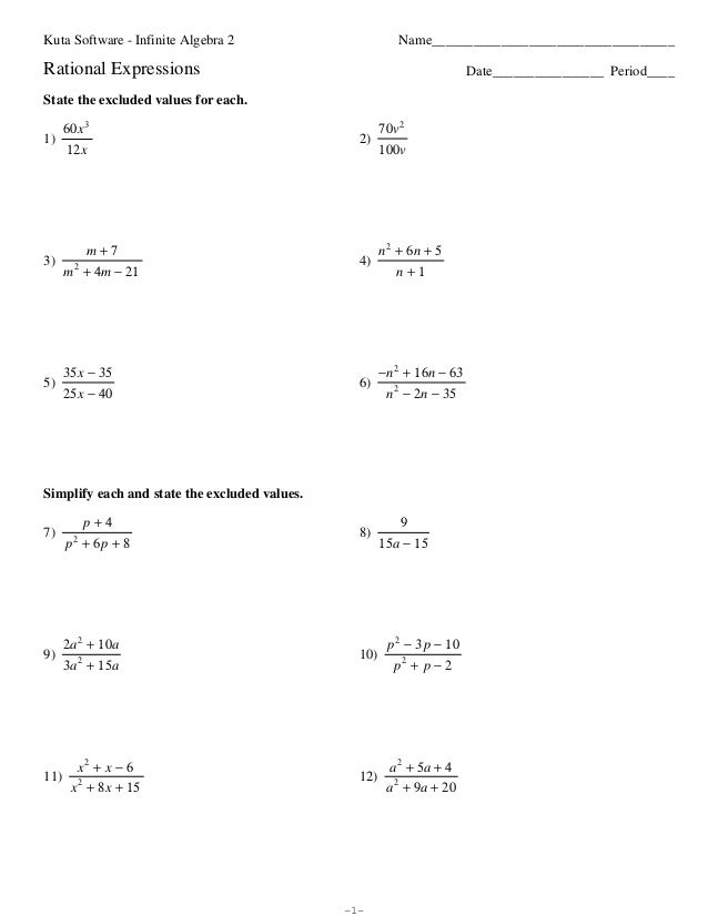 RationalExpressionsReviewpdf – Kuta Software Infinite Algebra 1 Worksheet Answers