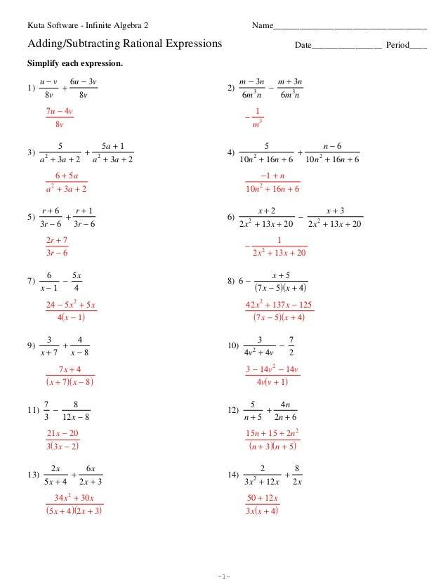 Algebra 2 Simplifying Rational Expressions Worksheet Free ...