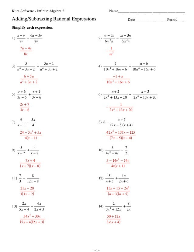 Rational Expressions Worksheet 8 Answers multiplying and – Rational Expression Worksheet