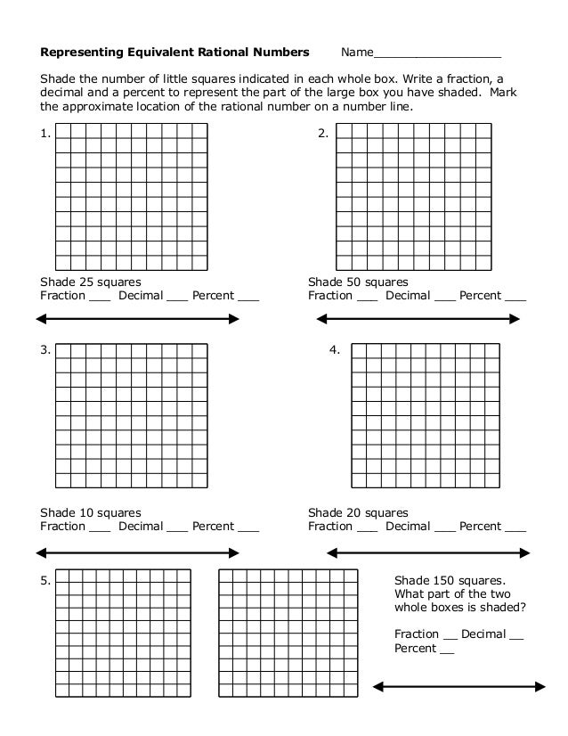 Representing Equivalent Rational Numbers Name__________________ Shade the number of little squares indicated in each whole...