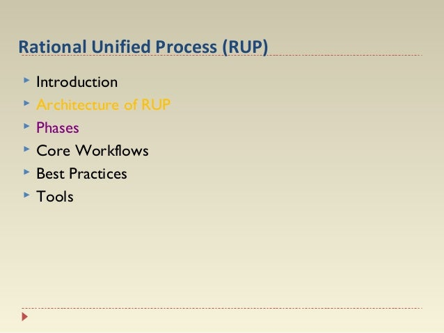 Rational Unified Process (RUP)        Introduction Architecture of RUP Phases Core Workflows Best Practices Tools