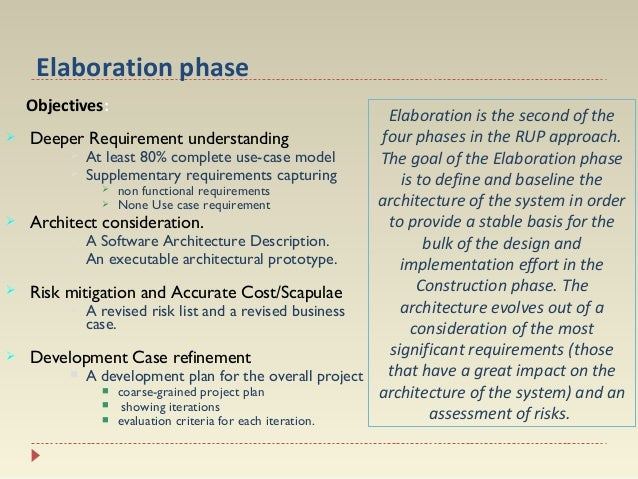 Elaboration phase Objectives:         Elaboration is the second of the four phases in the RUP approach. Deeper Require...