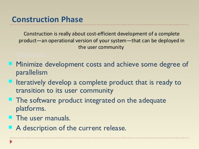 Construction Phase Construction is really about cost-efficient development of a complete product—an operational version of...
