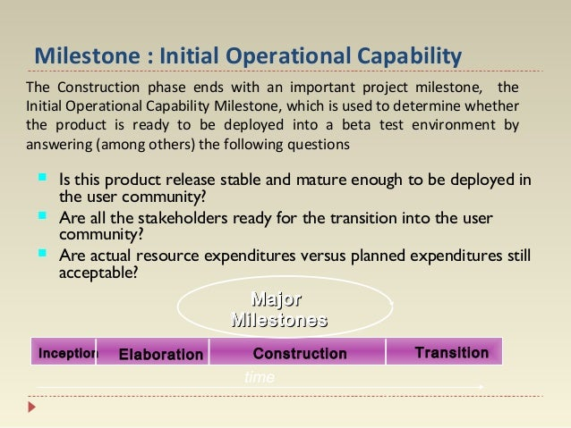 Milestone : Initial Operational Capability The Construction phase ends with an important project milestone, the Initial Op...