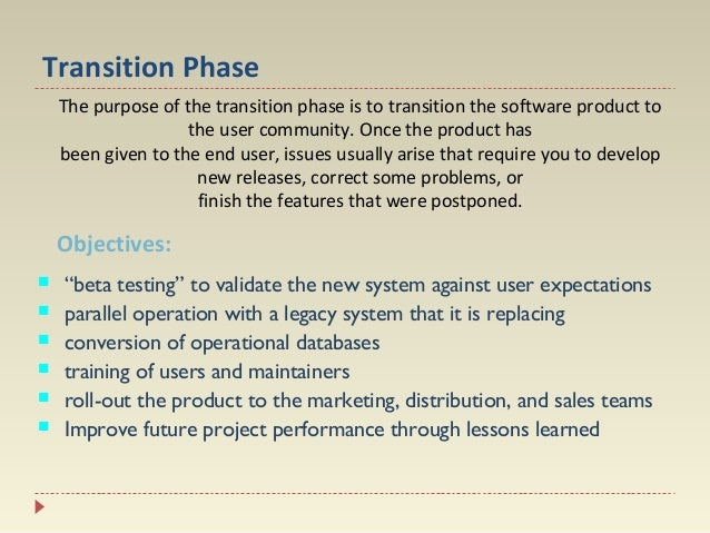 Transition Phase The purpose of the transition phase is to transition the software product to the user community. Once the...