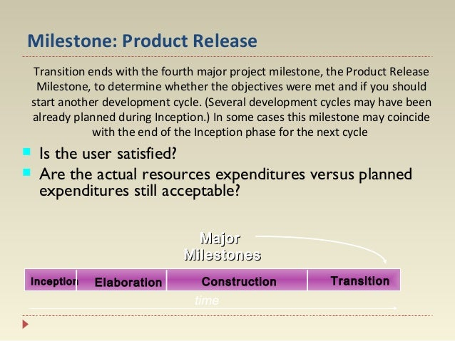 Milestone: Product Release Transition ends with the fourth major project milestone, the Product Release Milestone, to dete...