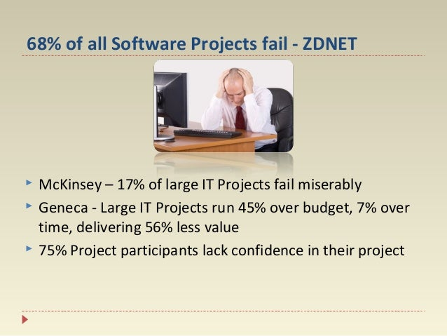 68% of all Software Projects fail - ZDNET      McKinsey – 17% of large IT Projects fail miserably Geneca - Large IT Pro...