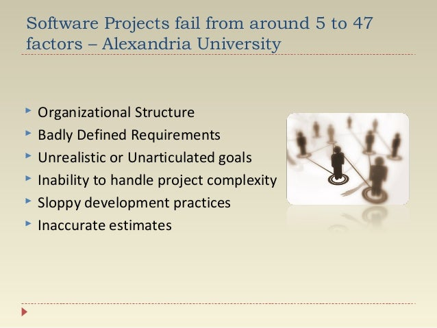 Software Projects fail from around 5 to 47 factors – Alexandria University         Organizational Structure Badly De...