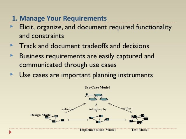 1. Manage Your Requirements  Elicit, organize, and document required functionality and constraints  Track and document t...