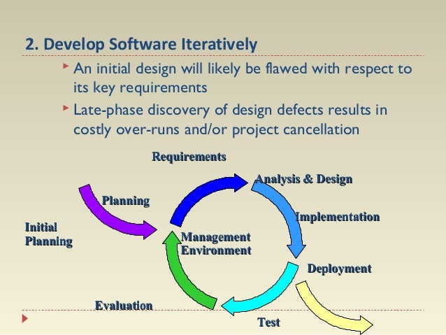 2. Develop Software Iteratively  An  initial design will likely be flawed with respect to its key requirements  Late-pha...