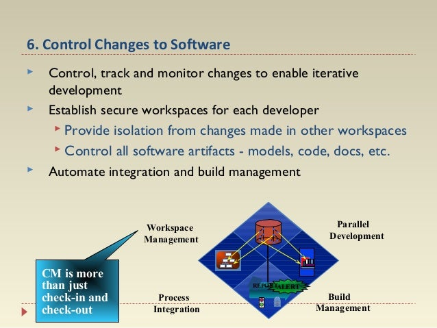 6. Control Changes to Software      Control, track and monitor changes to enable iterative development Establish secure...